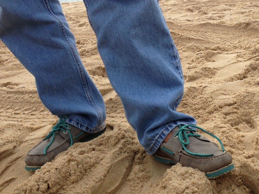 Tony wore the poofiest shoes ever seen on a fishing beach.