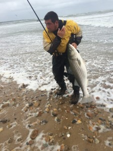 STORMY STRIPER: Nicky B. hauled a 35-pounder from the roaring Montauk surf