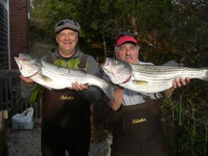 """All day action at the North Bar produced these keeper for surfcasting rookie Dr. Charlie Boyz and MVP Bobbie """"Bubba"""" Avitabile."""