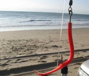 This red tube teaser did most of the damage on stripers caught on the ocean beach in Napeague and Amagansett